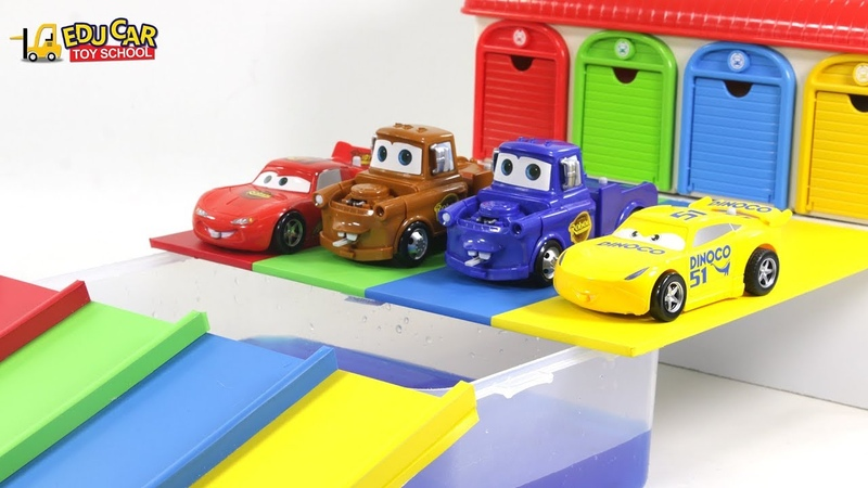 Learning Color Disney Cars Lightning McQueen Mack Truck Transforming water play for kids car toys
