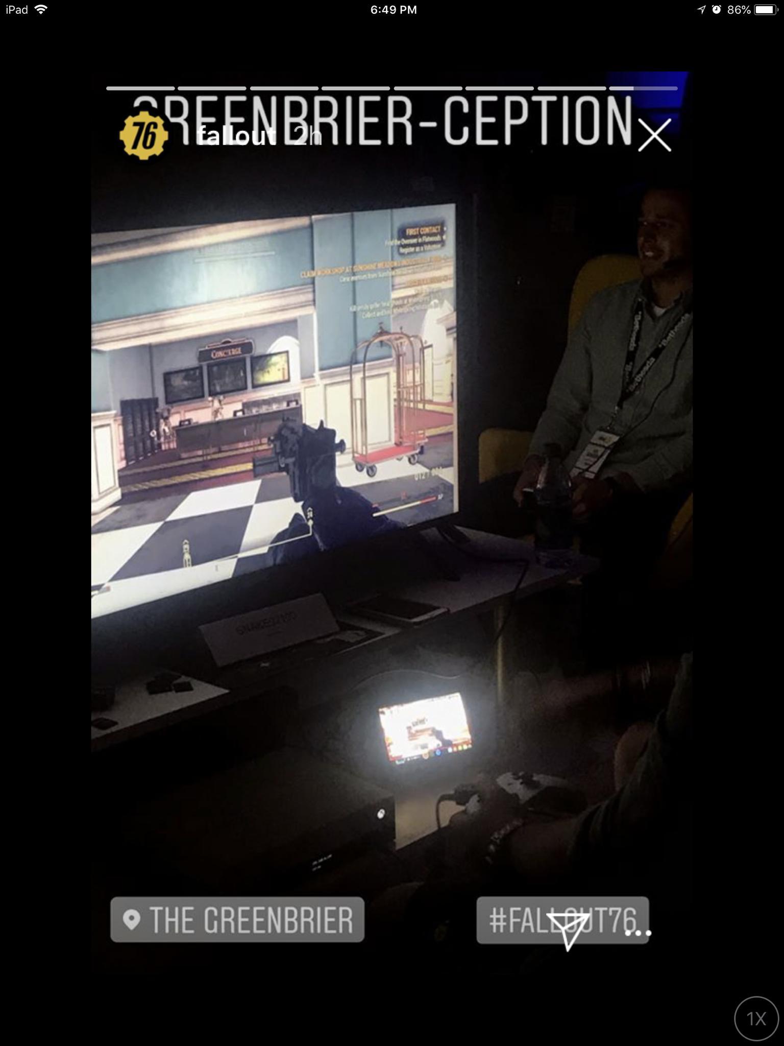 Кадр с демонстрации гемплея, многие журналисты отмечают что в Fallout76 полностью переработали освещение по сравнению с 4 частью.
