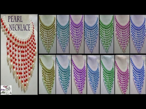 113 How To Make Pearl Beaded Necklace (Unique) || Diy || Jewellery Making