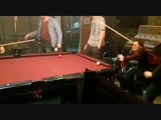 Luke and Alberto playing pool