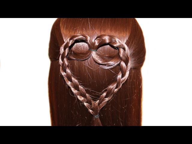 СЕРДЦЕ из волос на 14 февраля, на день святого Валентина ❤ Причёска для средних и ...
