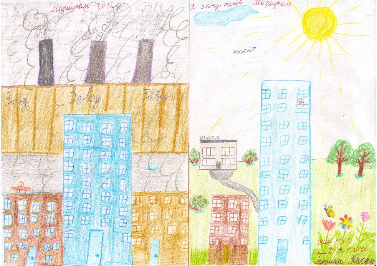 детские рисунки мой город: