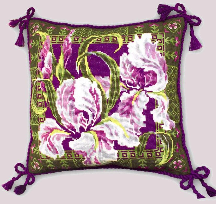 Вышивка крестом подушка с ирисами