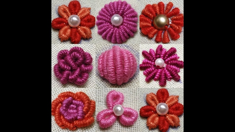 245-Different type of flowers with bullion knot stitch with subtitles(HindiUrdu)