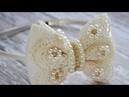 Laço Luxo de cetim com bordado em pérola e guipir