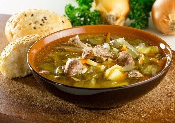 Суп с куриными сердечками и лапшой