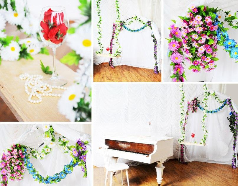 Новый интерьер качели и цветочная арка в фотостудии СТЕКЛО