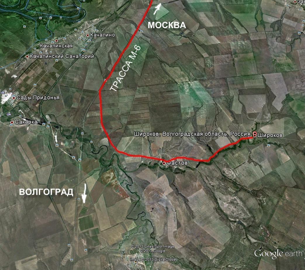 Схема проезда на реконструкцию в х. Широков