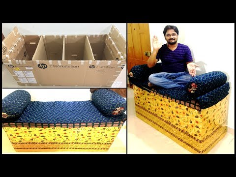 How to Make Mini Sofa Couch Cushion Ottoman With Storage At Home Out of Waste