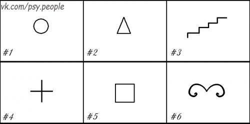 """Психологический тест: фигуры Небольшой психологический тест, чтобы лучше узнать человека и себя с помощью геометрических фигур. Разбейте лист бумаги на шесть клеточек. В первую поместите круг. Во вторую — треугольник. В третью — ступеньки. В четвертую — крест. В пятую — квадрат. В шестую — цифру """" 3 """", перевернутую как буква """" м """". Попросите вашего собеседника дополнить каждую геометрическую фигуру так, чтобы получился не абстрактный рисунок. Дополните сами, если тест…"""