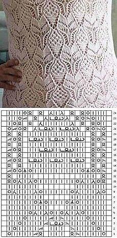 белый узор спицами схема узора