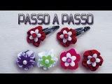 Rosa de fita de cetim Passo a Passo - DIY.  Passo a passo faixa meia de seda/ passo a passo flor tecido.