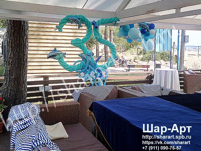 оформление шарами на 35 лет в морском стиле