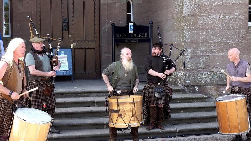 Meet Clanadonia, Scottish tribal band used in Outlander, at Scone Palace, Scotland, May 2018