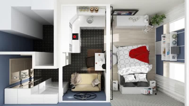 Дизайн двушки 25 кв.метров в скандинавском стиле