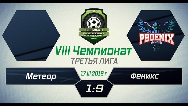 VIII Чемпионат ЮСМФЛ. Третья лига. Метеор - Феникс 19, 17.03.2019 г. Обзор