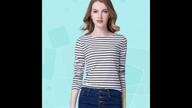 Plus Size Plunge Neck Striped Fit T-Shirt
