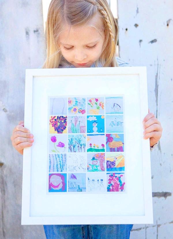 фотоколлаж поможет сохранить лучшие детские рисунки