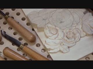 Резьба по дереву. Цветы шиповника-2 часть_ Wood carving. Canker-rose flowers-2 part