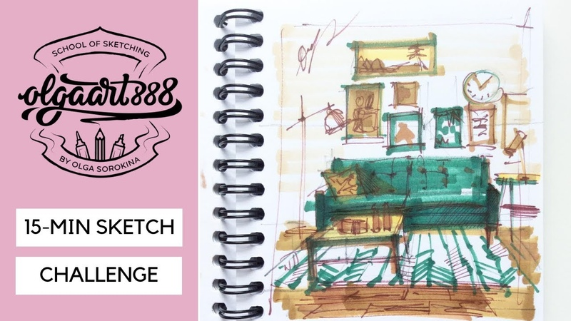 Eps 4✏️15 MIN SKETCH CHALLENGE how to draw a room with markers