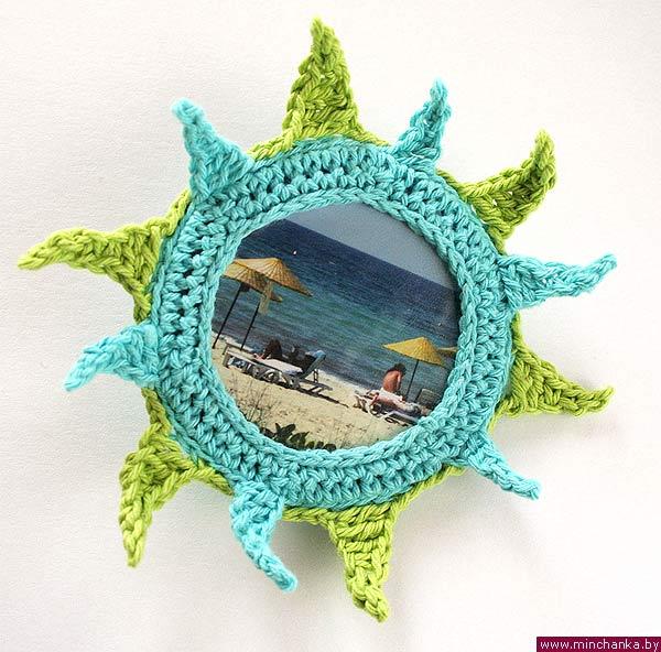 Вязаная солнечная брошь. (6 фото) - картинка