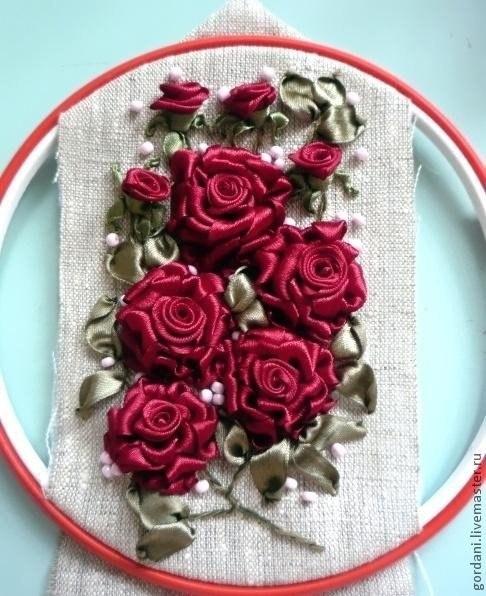 Вышивка лентами объемная роза