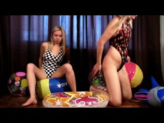 Alina_and_christina_deflating_pooltoys