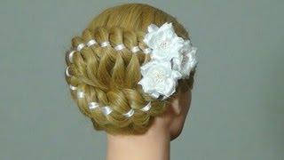 Коса из 5 прядей с лентами.  Плетем косы.  5 strand braid with ribbon - видео прическа.