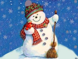 Новорічна листівка із снігоіиком
