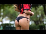 Hot Claudia Romani plays soccer in Black thong Bikini bottoms