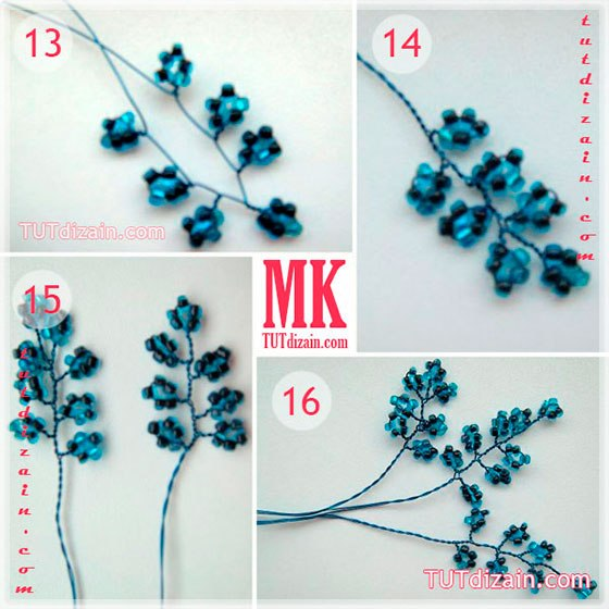 Как делать синие цветы из бисера