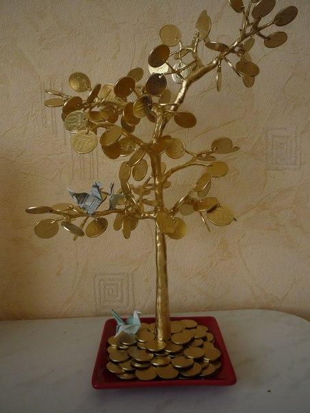 Как сделать денежное дерево из монеток
