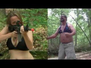 Woman In Bikini Shoots Guy In Bikini With Airsoft AR-15 (Woman Vs Man)