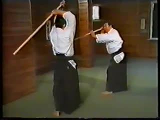 Morihiro Saito Jo in aikido. Jo Kata Suburi Kumi Jo