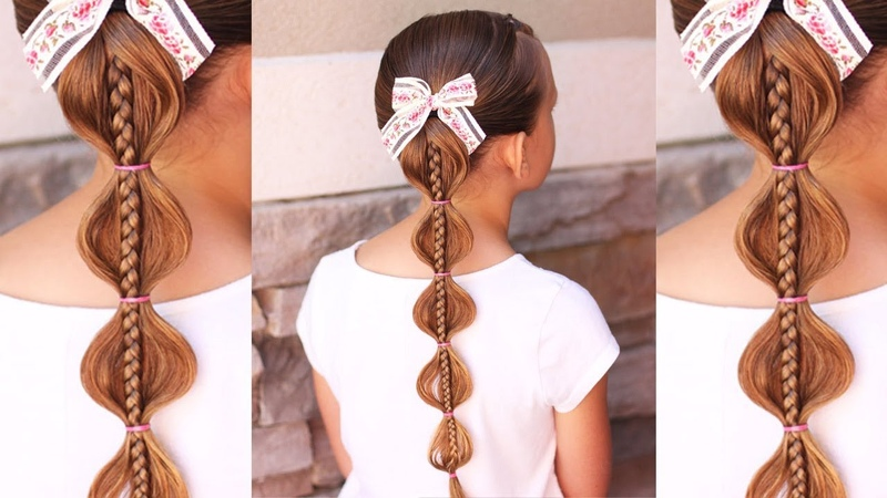 Stacked Bubble Braid | 5 Minute Hairstyle for Little Girls | Brown Haired Bliss