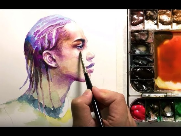 (re-uploadReal-time)Watercolor Portrait of Female side face