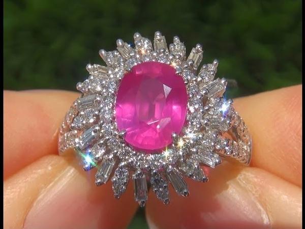 RARE 4.02 Carat Natural Pink Sapphire Diamond Platinum Vintage Ring
