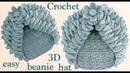 Gorro tejido a Crochet con hojas de merengue 3D y flor tejida a gancho tallermanualperu