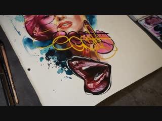 Watercolor, Marilyn Monroe. Daria Pirojenko