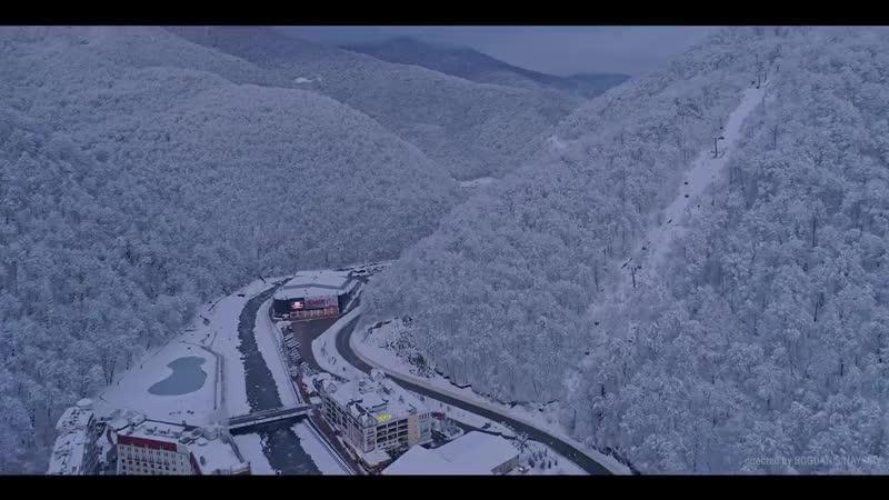 Аэросъемка Роза Хутор. Winter in Rosa Khutor. Aerial view