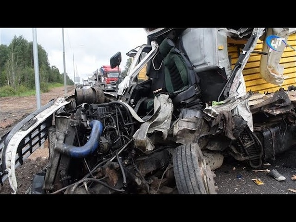 На трассе «Россия» в Валдайском районе столкнулись четыре грузовика, погиб один из водителей