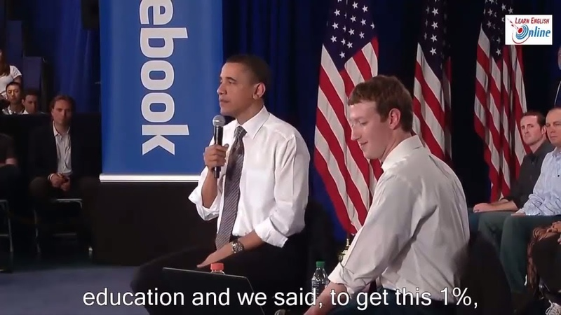 Learn English with President Obama and Mark Zuckerberg at Facebook Town Hall - English Subtitles