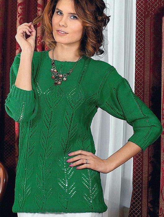 Изумрудный пуловер.Красиво, нарядно, стильно!