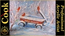 Red Wagon in the Snow with Red Cardinal Birds Acrylic Painting Tutorial for the Holidays
