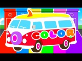 FUNNY BUS &amp COLORS for Kids - Cars Learning Educational Video - Superheroes for babies toddlers