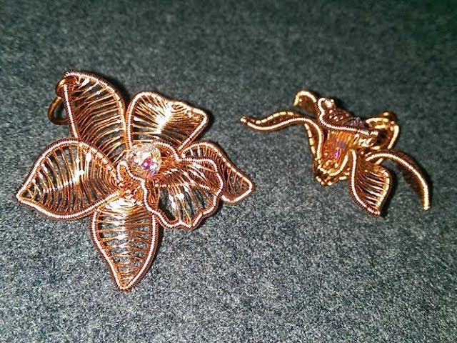 Cymbidium orchid - Copper Flower 3D pendant 273