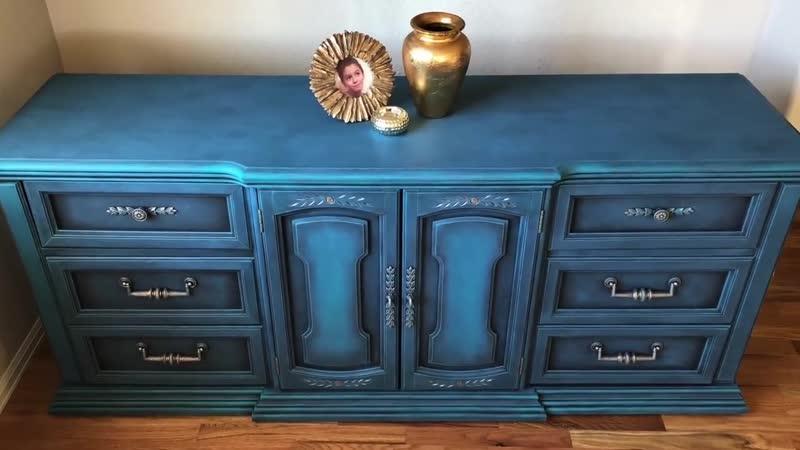 До и После Annie Sloan Chalk Paint оттенок Aubusson Blue