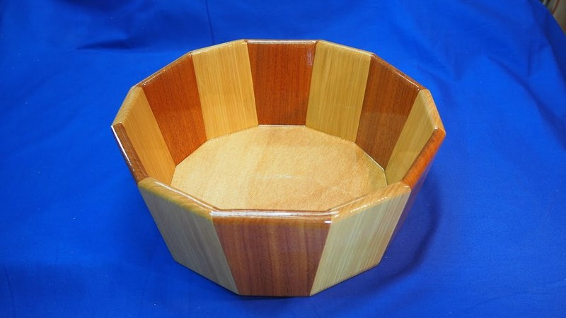 Bird Mouth Joinery A 12 sided decorative bowl with tapered staves