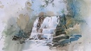 Waterfall in watercolor Watercolor painting demonstration by Prashant Sarkar