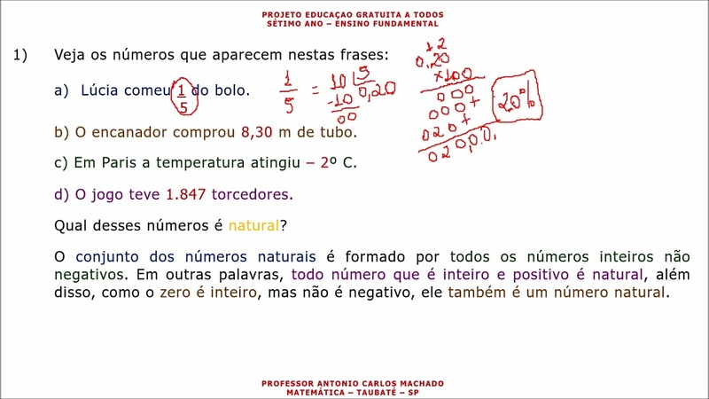 Sétimo Ano Aula 1 Matemática Números Naturais